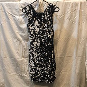 B/W sequined formal a-line dress.
